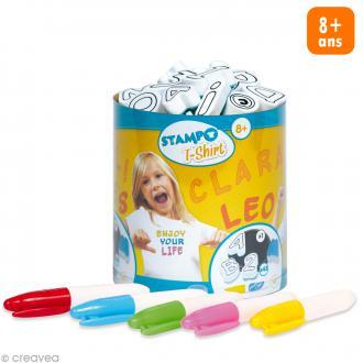 Stampo't-shirt - Kit tampons Encreur et Feutres textiles - Alphabet