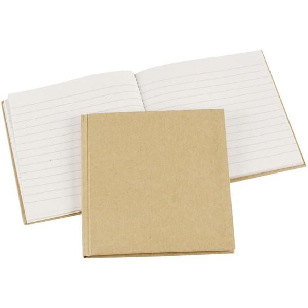 Carnet de notes ligné à décorer - 14 x 14 cm - Brun - Photo n°1