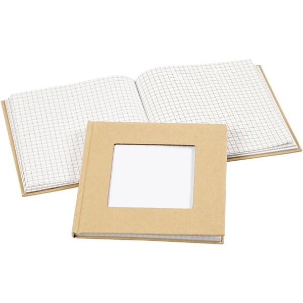 Carnet de notes quadrillé à décorer avec passe-partout - 14 x 14 cm - Brun - Photo n°1