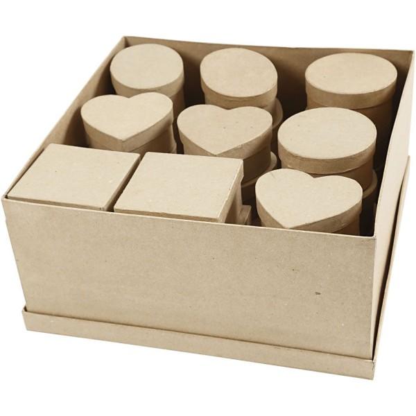 Assortiment de boîtes en papier mâché - 10 à 12 cm x 5 cm - 28 pcs - Photo n°1