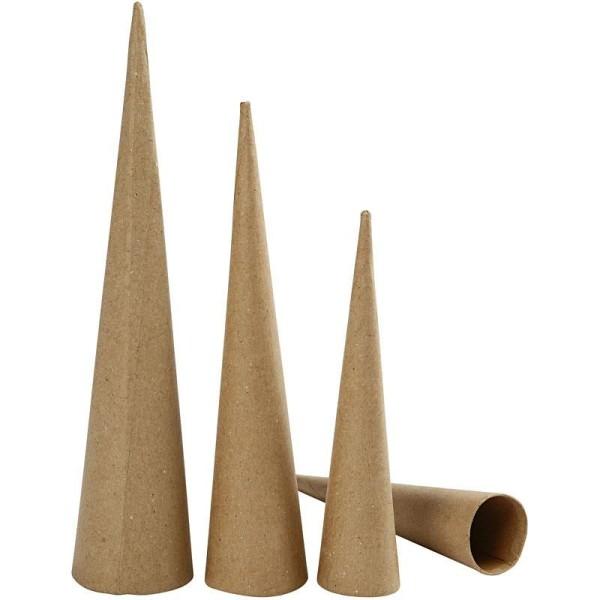 Lot de cônes en papier mâché à décorer - 20 à 30 cm - 3 pcs - Photo n°1