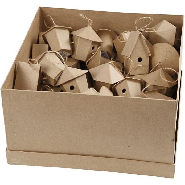 Lot de mini nichoirs en papier mâche - 7 cm - 60 pcs - Photo n°1