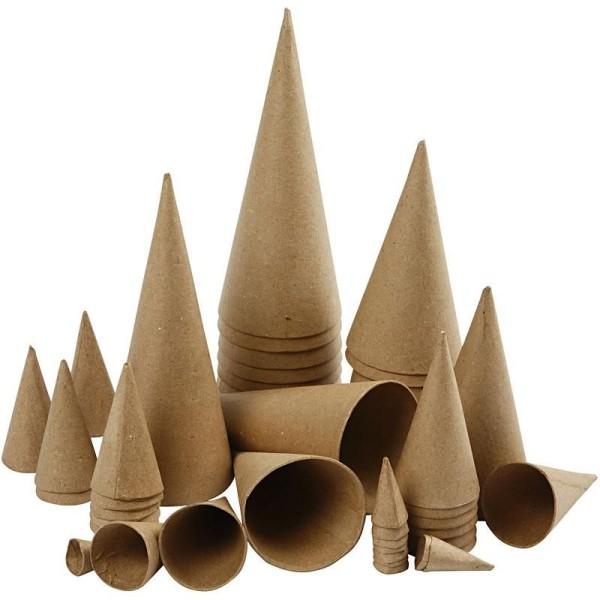 Lot de cônes en papier mâché à décorer - 8 à 20 cm - 50 pcs - Photo n°1