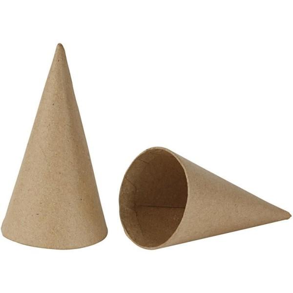 Lot de cônes en papier mâché à décorer - 14 cm - 10 pcs - Photo n°1