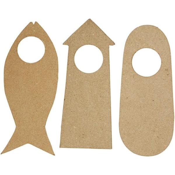 Plaque poignée de porte en papier mâché - 10 x 25 cm - 6 pcs - Photo n°1