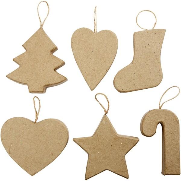 Assortiment de décorations de Noël à suspendre - 7 à 8 cm - 6 pcs - Photo n°1