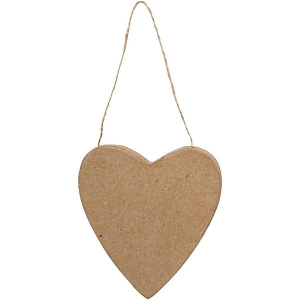 Coeur en papier mâché à suspendre et à décorer - 12,5 cm - Photo n°1