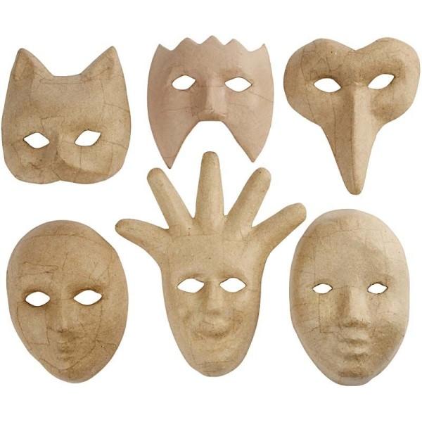 Assortiment masques décoratifs en papier mâché - 6 pcs - Photo n°1