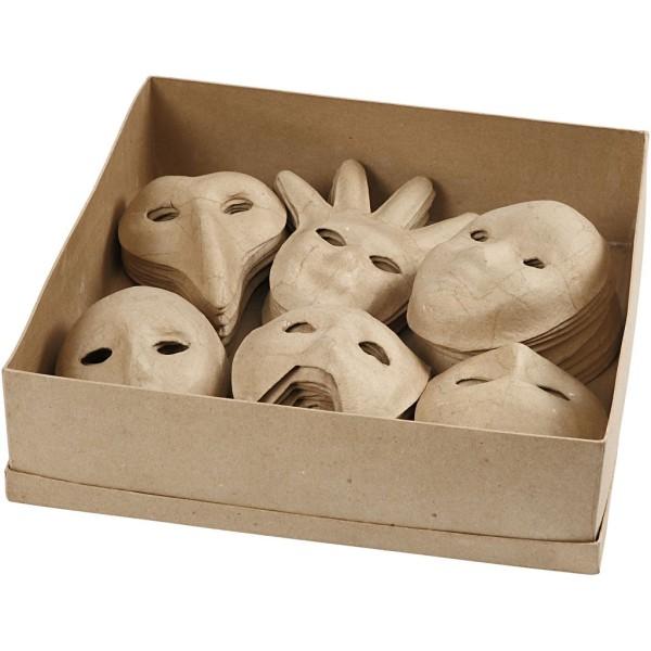 Assortiment de masques décoratifs en papier mâché - 12 à 21 cm - 60 pcs - Photo n°1