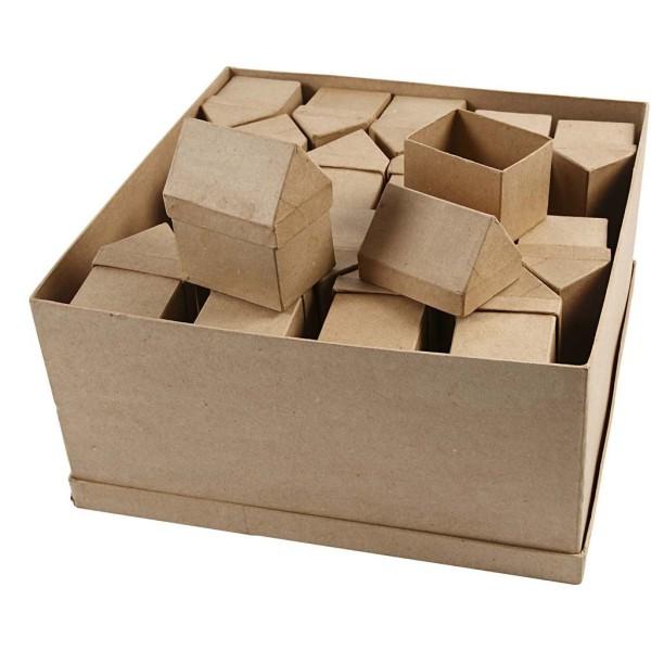 Lot de boîte en papier mâché - Maison - 10,5 cm - 40 pcs - Photo n°1