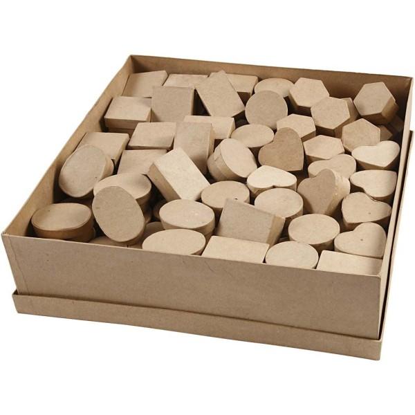 Assortiment de boîtes en papier mâché - 4 à 6 cm x 3 cm - 144 pcs - Photo n°1
