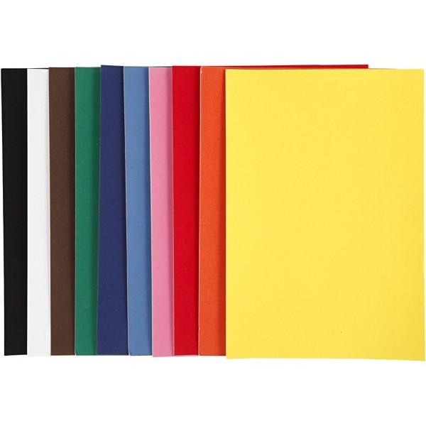 Papier velours - A4 - Couleurs assorties - 140 gr - 10 feuilles - Photo n°1