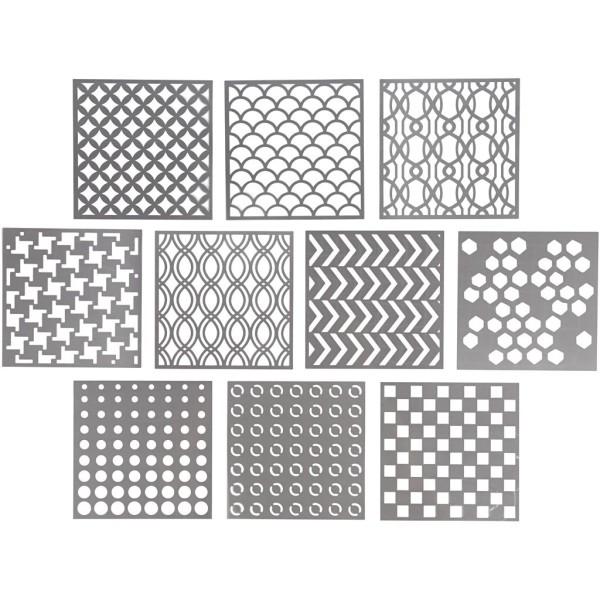 Pochoirs Multiusages - Motifs géométriques - 15 x 15 cm - 10 pcs - Photo n°1