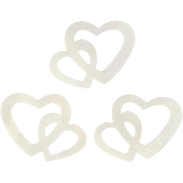 Confettis nacrés - Coeurs doubles - 2,2 x 3,1 cm - 10 g - Photo n°1