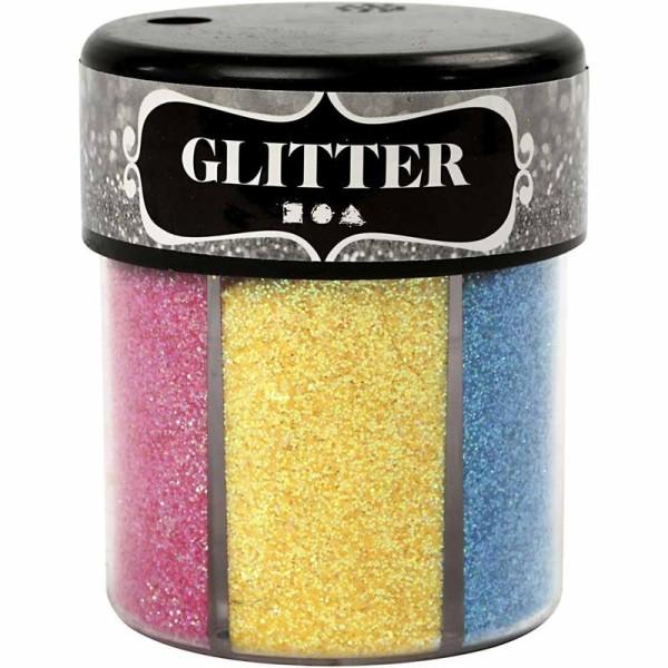 Gros pot de paillettes - Multicolores - 6 x 13 g - Photo n°1