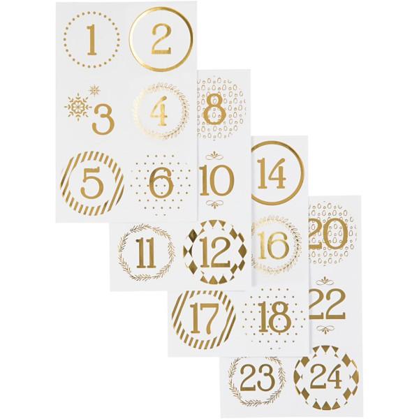 Chiffres autocollant de calendrier de l'Avent - 40 mm - Blanc et Doré - 24 stickers - Photo n°1