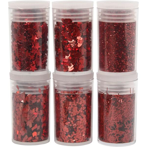 Assortiment de paillettes - Différents motifs - Rouge - 6 x 5 gr - Photo n°1