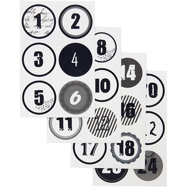 Chiffres autocollant Calendrier de l'avent Noir - 4 cm - 24 stickers - Photo n°1