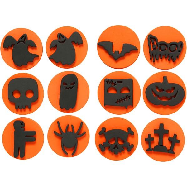 Tampons en mousse recto/verso - Halloween - 7,5 cm - 6 pcs - Photo n°1