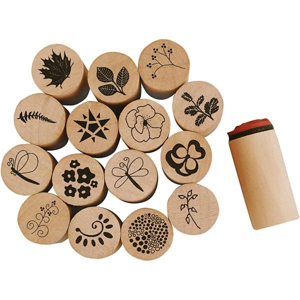 Tampons en caoutchouc Fleurs et Feuilles - diamètre : 2 cm - 15 pcs - Photo n°1
