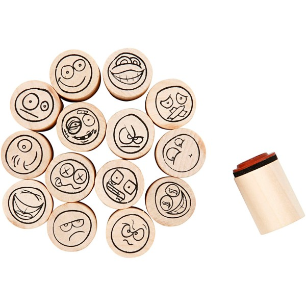 Set de tampons en bois - Smileys - 15 pcs - Photo n°1