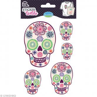 Sticker textile - Tête de mort fleurie - 5 transferts thermocollants