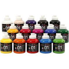 Assortiment de peinture acrylique brillante A-Color - 15 x 500 ml