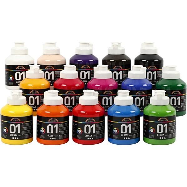 Assortiment Peinture Acrylique brillante A-Color - 15 x 500 ml - Photo n°1