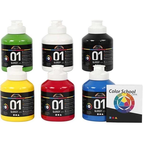 Assortiment Peinture Acrylique brillante A-Color - 6 x 150 ml - Photo n°1