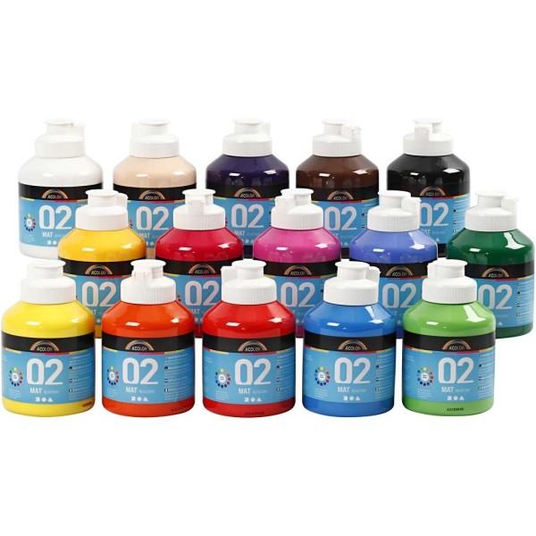 Assortiment de Peinture Acrylique mate A-Color - 15 x 500 ml - Photo n°1