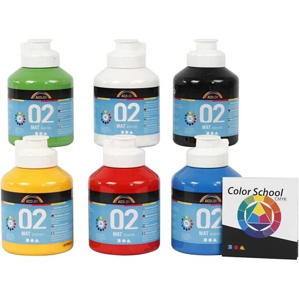 Assortiment de peinture acrylique mate A-Color - 500 ml - 6 pcs - Photo n°1