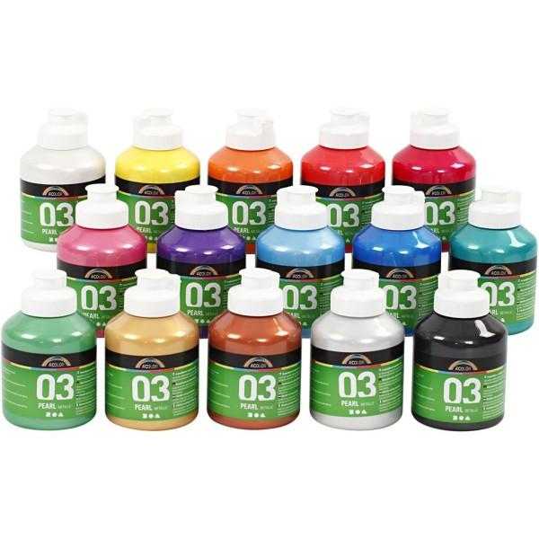 Assortiment de Peinture Acrylique perle métallique A-Color - 15 x 500 ml - Photo n°1
