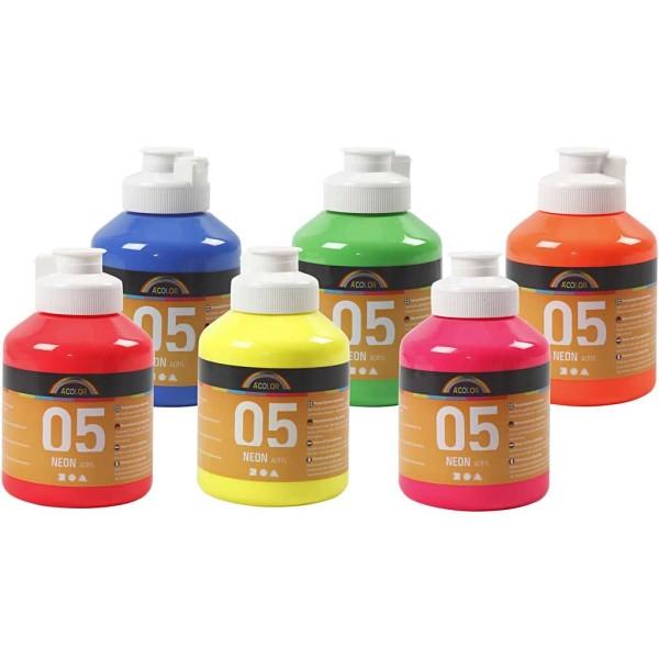 Peinture acrylique A-color - Assortiment couleur néons - 6 x 500 ml - Photo n°1