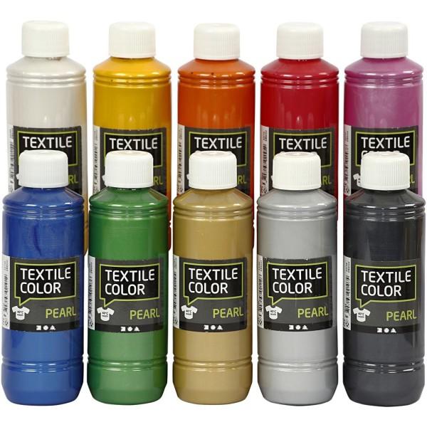 Assortiment Peinture textile métallique - 10 x 250 ml - Photo n°1