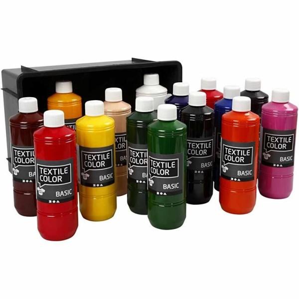 Assortiment Peinture textile - Couleurs basiques - 15 x 500 ml - Photo n°1