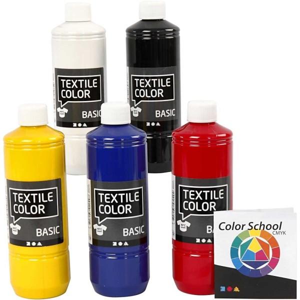Assortiment peinture textile - 5 x 500 ml - Photo n°1