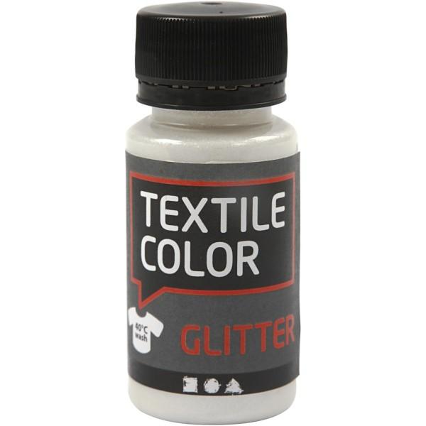 Peinture Textile Glitter 50 ml - Transparent - Photo n°1