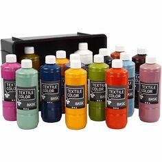 Assortiment de peintures pour textiles textiles Couleur 500 ml - 15 pièces