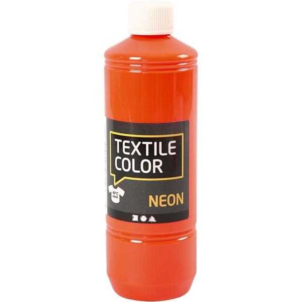 Peinture textile fluo 500 ml - Orange néon - Photo n°1