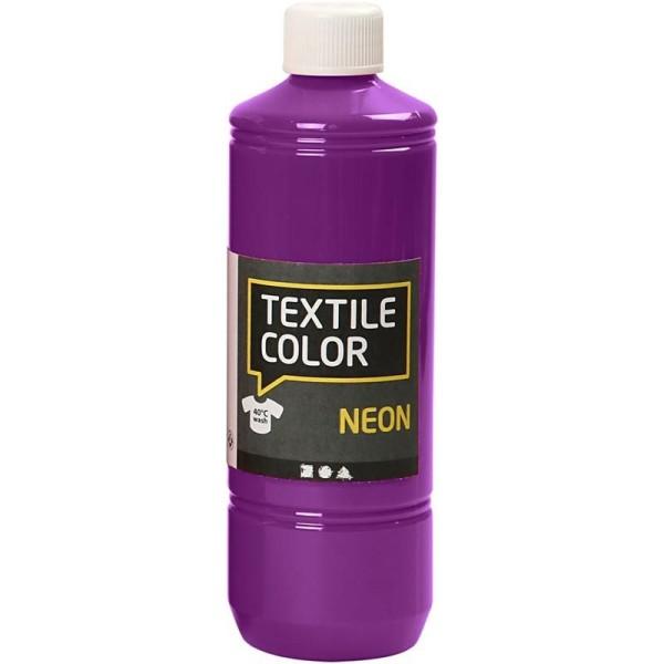 Peinture tissu Textile Color Neon - Violet fluo - 500 ml - Photo n°1