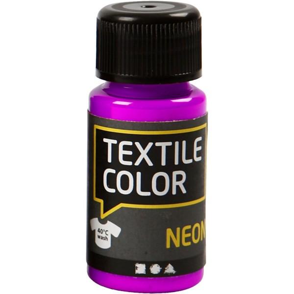 Peinture tissu Textile Color Neon - Violet fluo - 50 ml - Photo n°1