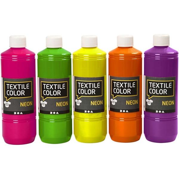 Assortiment Peinture textile fluo - 5 x 500 ml - Photo n°1