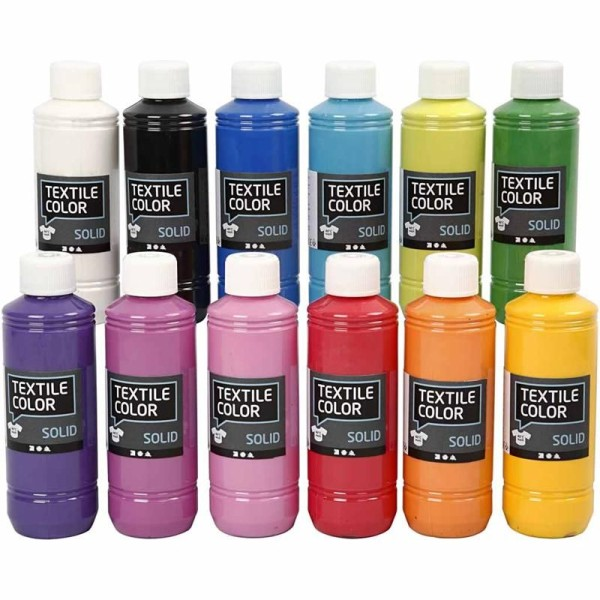Assortiment peinture textile Opaque - 12 x 250 ml - Photo n°1