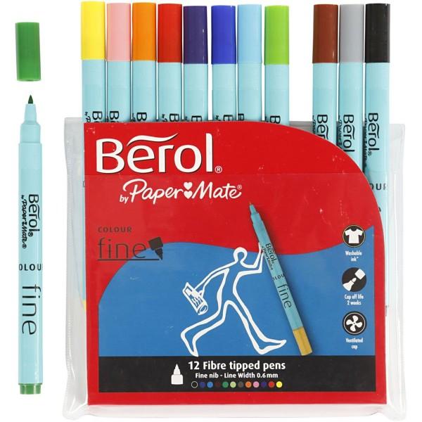 Assortiment de feutres de couleur Berol - Trait : 0,6 mm - 12 pcs - Photo n°1