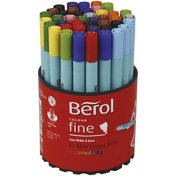 Assortiment de feutres de couleur Berol - Trait : 0,6 mm - 42 pcs - Photo n°1