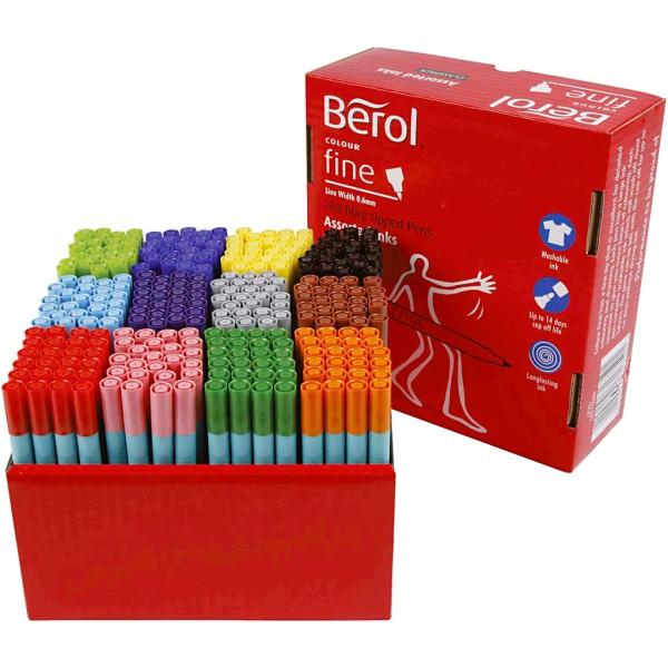 Feutre Berol, trait: 0,6 mm, d: 10 mm, 288 pièces, Couleurs assorties - Photo n°1