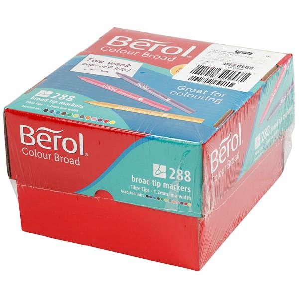 Feutre Berol, trait: 1,2 mm, d: 10 mm, 288 pièces, Couleurs assorties - Photo n°3