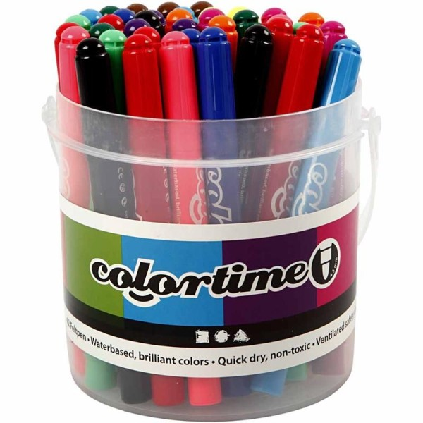Lot de feutres Colortime avec rangement seau - Pointe 5 mm - 42 pcs - Photo n°1