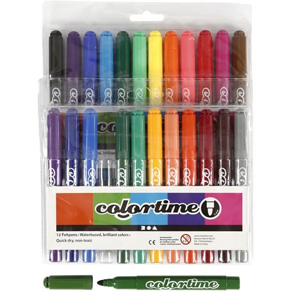 Feutres coloriage Colortime - 12 couleurs - 24 pcs - Photo n°1