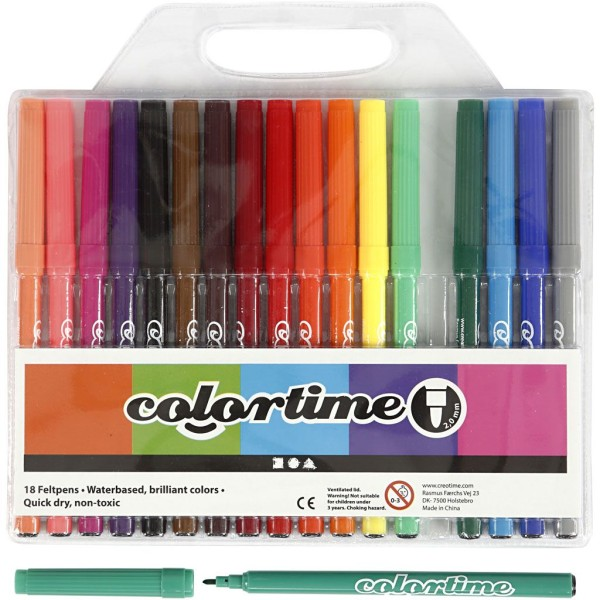 Feutres Colortime - Pointe 2 mm - Couleurs assorties - 18 pcs - Photo n°1